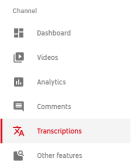 Transcriptions option in red with white background