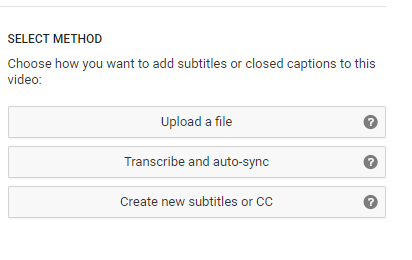 YouTube Creator select method with three options